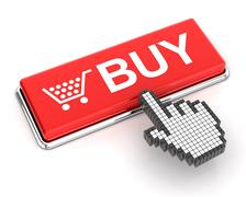 Clicking a buy button Stock Illustration