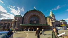 Finland Helsinki train station entrance time lapse Stock Footage