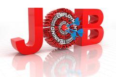 Target job concept, 3d render Stock Illustration