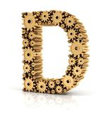 Alphabet D formed by gears Stock Illustration