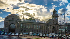 April 10, 2015. Main building of famous Kievsky Railway Terminal in Moscow Stock Footage