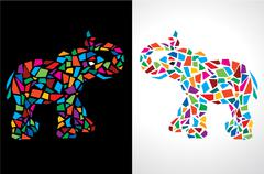 Abstract Elephant Vector Illustration - stock illustration