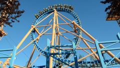Theme Park Amusements Looping Roller Coaster Ride Arkistovideo