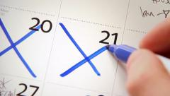 Calendar / Diary - Close Up - Crossing Off Days 03 HD Stock Footage