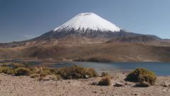 View to the mountain and lake landscape of the Lauca National Park, Chile. Stock Footage