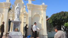 Group of people preparing altar at the church Stock Footage