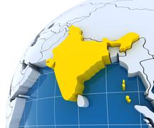 Globe with extruded continents, close-up on India - stock illustration