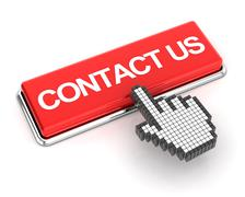 Clicking on contact us button, 3d render - stock illustration