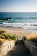 Staircase to the beach in Malibu, California. - stock photo