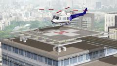 A medical helicopter lands on a hospital helipad - stock footage