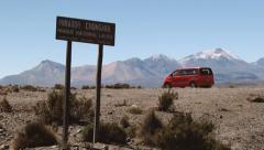 Minivan parked at the viewpoint of the Lauca National Park in Putre, Chile. Stock Footage