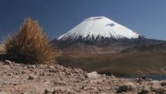 View to the Parinacota volcano in Lauca National Park, Chile. Stock Footage
