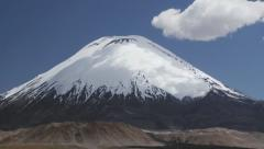 View to the Parinacota volcano snowcapped slopes in Lauca National Park, Chile. Stock Footage