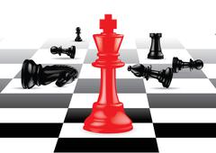Red King stand out against black chess pieces Stock Illustration