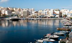 Agios Nikolaos town port in Crete, Greece - stock photo