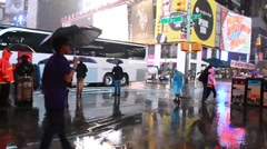 New York City Times Square At Night With Rain - stock footage