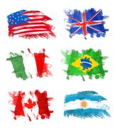 Stock Illustration of Flags - America, England, Italy, Brazil, Canada and Argentina