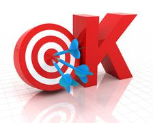 Okay symbol with target, 3d render - stock illustration
