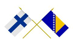 Stock Illustration of Flags, Bosnia and Herzegovina and Finland