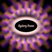 Mystic shiny card with circle ornament and color aberrations Stock Illustration
