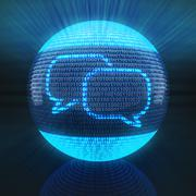 Chat icon on sphere formed by binary code Stock Illustration