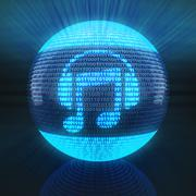 Music icon on sphere formed by binary code Stock Illustration