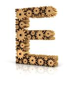 Alphabet E formed by gears - stock illustration