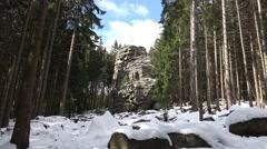 4k Snow winter Feuersteinklippen rocks Harz mountain - stock footage