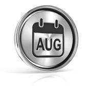Metallic August calendar icon - stock illustration