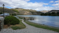 New Zealand Old Cromwell path on Lake Dunstan Stock Footage