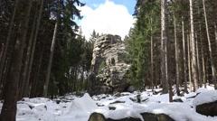 Stock Video Footage of 4k Snow winter zoom Feuersteinklippen rocks Harz mountain