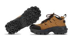 Tough hiking shoes isolated on white background - stock photo