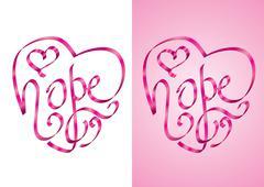 Hope - Heart shape calligraphy with ribbon - stock illustration