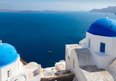 View of caldera with blue domes, Santorini Stock Photos
