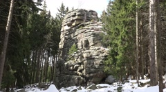 4k Snow winter Feuersteinklippen rocks Harz mountain Stock Footage