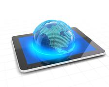 Globe with binary code emerging from a tablet - stock illustration