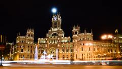 Madrid Plaza de Cibeles and Town Hall, Night Timelapse Stock Footage