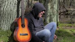 Stressful Man screaming in the forest Stock Footage
