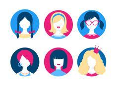 Female avatars - stock illustration