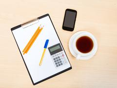 Business still life - top view of office tools Stock Photos