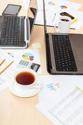 Table with tools in modern office Stock Photos