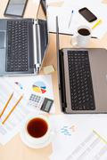 Above view of table with tools in modern office Stock Photos
