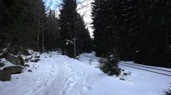 4k Winter and snow in german Harz mountain Brocken - stock footage