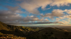 Mt Diablo South side motion pan across clouds Dansville, CA Stock Footage