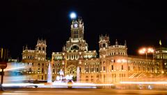 4K Madrid Plaza de Cibeles and Town Hall, Night Timelapse Stock Footage