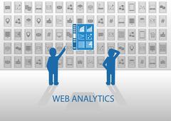 Web analytics vector illustration with online information dashboard. - stock illustration