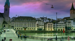 Zurich, capital of Switzerland, during dramatic sunset, time lapse, 4k, Stock Footage
