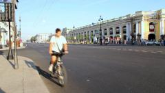 Traffic At Nevsky Avenue - is the main street in the city Stock Footage