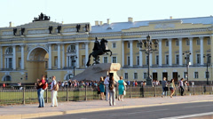 Bronze Horseman is an famous equestrian statue of emperor Peter the Great Stock Footage