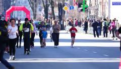 The marathon family sport and recreation. Stock Footage